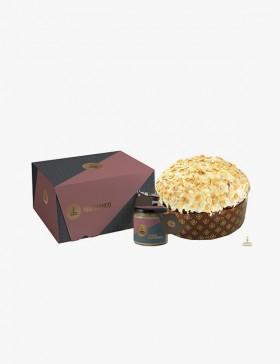 Oro Bianco - Panettone ricoperto al cioccolato bianco e crema alle mandorle spalmabile...